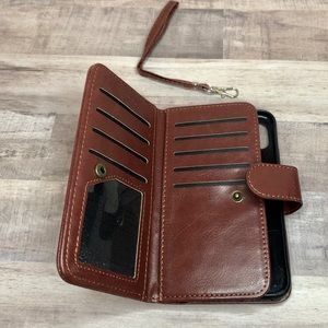 FOR IPHONE XS - Cognac Phone Wallet w/ Wrist Strap